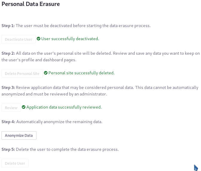 Figure 8: Anonymize any remaining use of the Users identifiers remaining in the database.