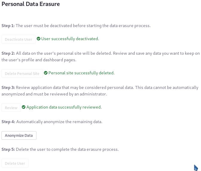 図8:データベースに残っているユーザーの識別子の残りの使用を匿名化します。