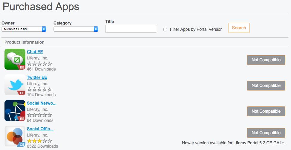図4:実行中のLiferayインスタンス内から購入したアプリを管理することもできます。