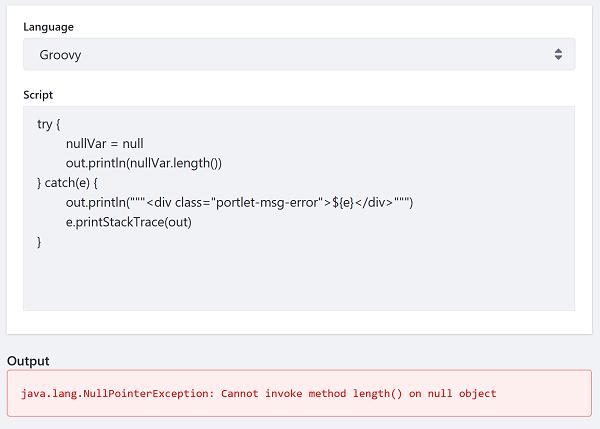 図2:例外をキャッチしてスクリプトコンソールに例外情報を出力するGroovyスクリプトの例を次に示します。