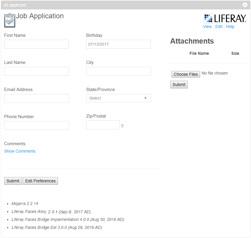 Figure 1: The JSF Applicant portlet provides a job application for users to submit.