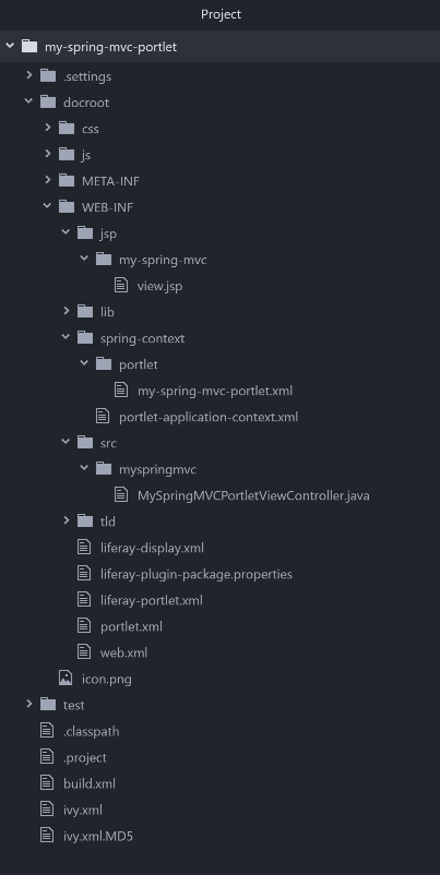 Figure 2: The my-spring-mvc-portlet project has traditional Liferay plugin files, Spring Portlet MVC application contexts (in spring-context/), and a controller class MySpringMVCPortletviewController.