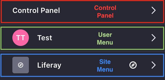 図1:製品メニューは、コントロールパネル、ユーザーメニュー、およびサイトメニューの3つのセクションに分かれています。