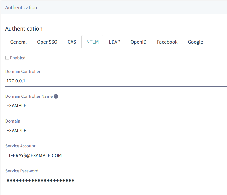 Figure 1: The NTLM settings on the Authentication tab let you configure SSO for Microsoft environments.