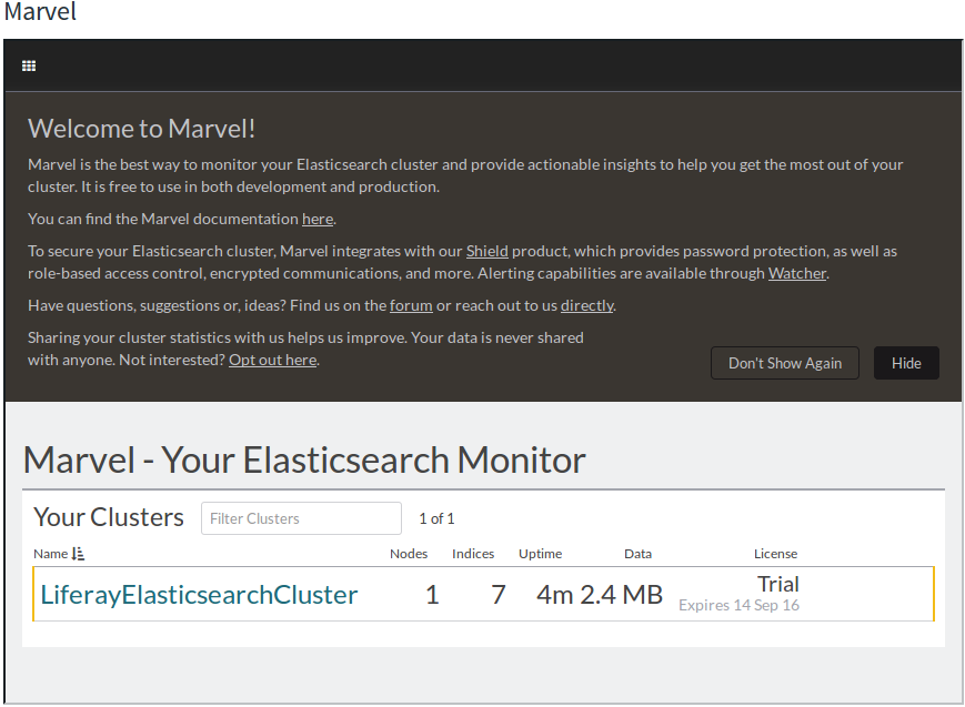 Figure 2: You can monitor your Elasticsearch cluster from Liferay DXP using the Marvel Portlet.