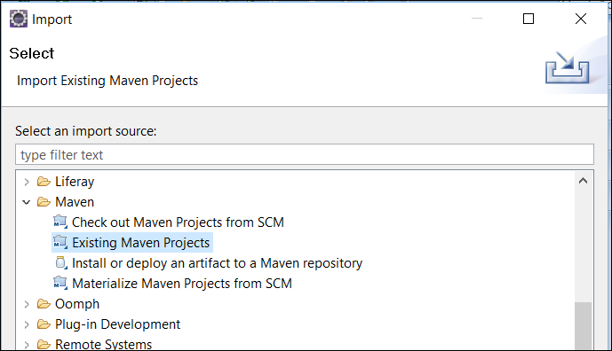 Figure 3: Dev Studio offers the Maven folder in the Import wizard.