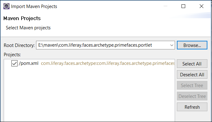 Figure 4: Use the Import Maven Projects wizard to import your pre-existing project.