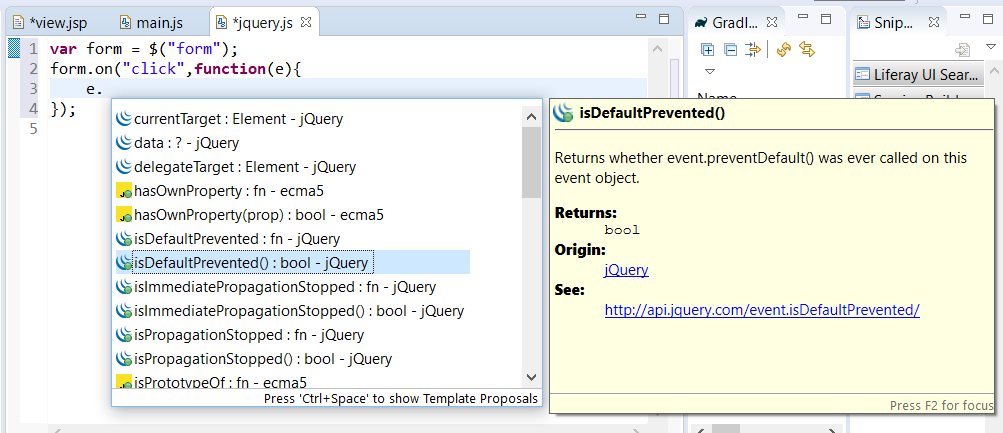 Figure 7: jQuery code assist also displays type information for parameters.