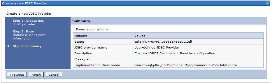 Figure 4: Completed JDBC provider configurations.