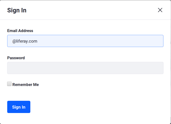 Figure 2: Heres a view of the Sign In portlet with the Create Account and Forgot Password options removed.