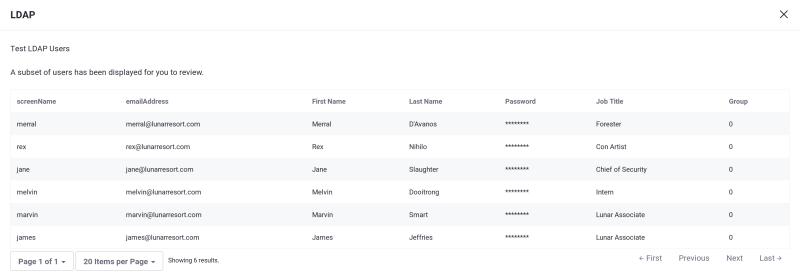 図1:LDAPユーザーのテスト
