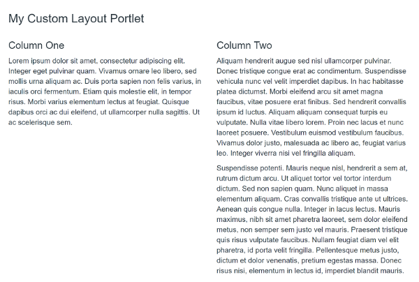 Figure 2: You can take advantage of Bootstraps grid classes to create responsive layouts within your custom portlets.