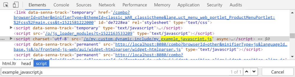 Figure 1: The Top JS dynamic include lets you load additional scripts in the themes head.