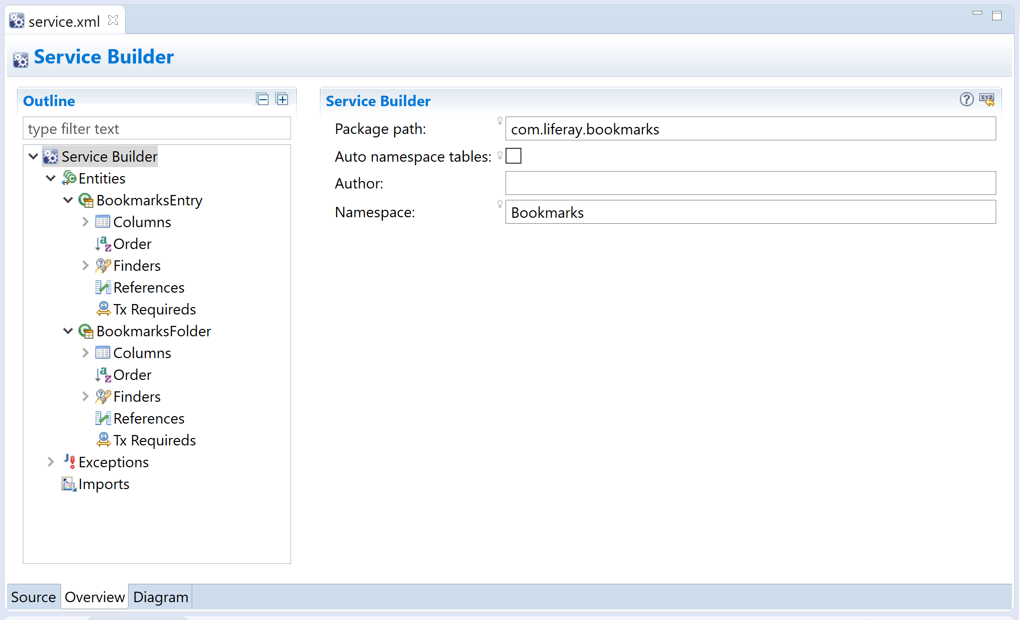 Figure 1: This is the Service Builder form from the Bookmarks applications service.xml.