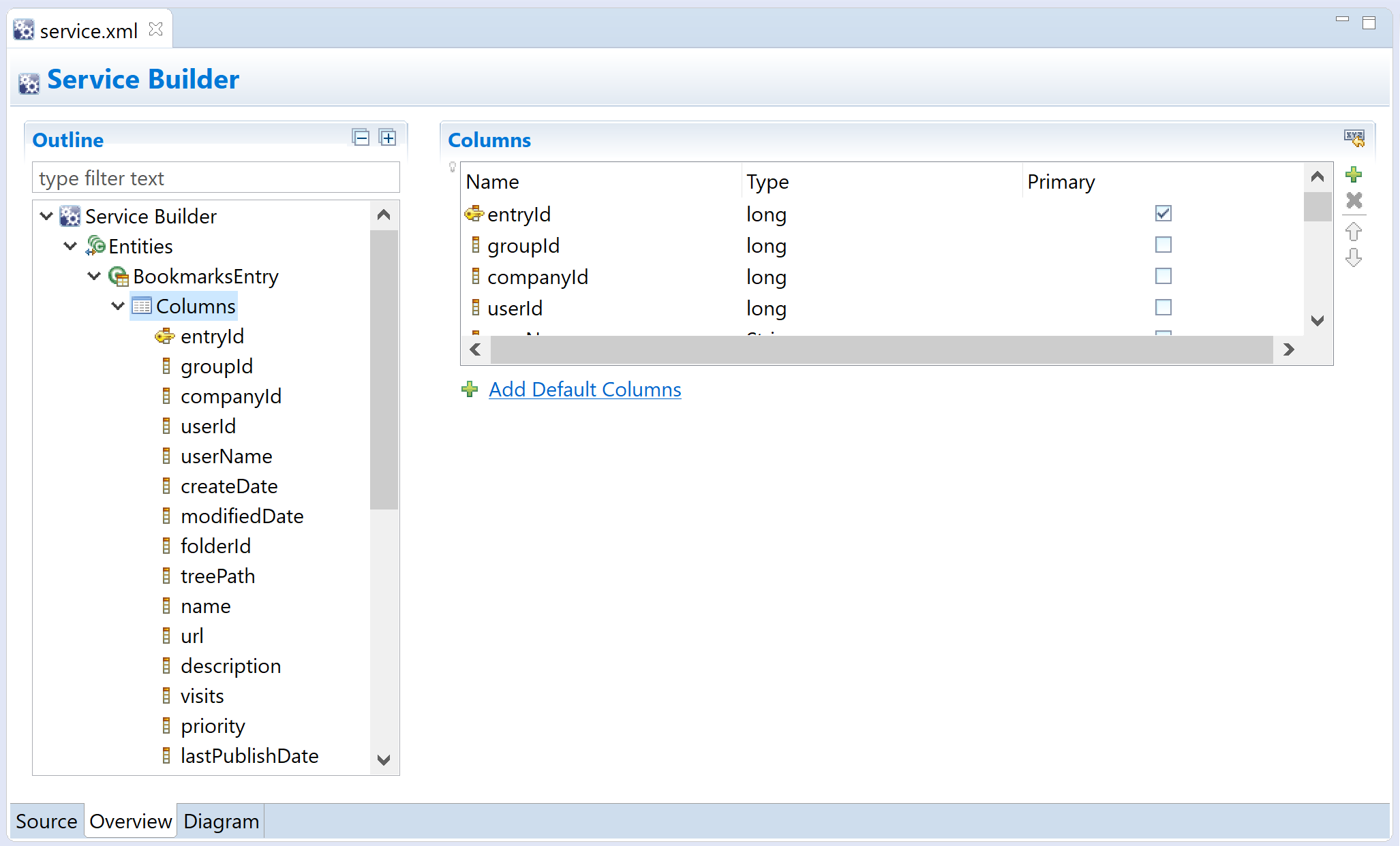 Figure 1: Liferay Dev Studio DXP facilitates defining table columns for entities.