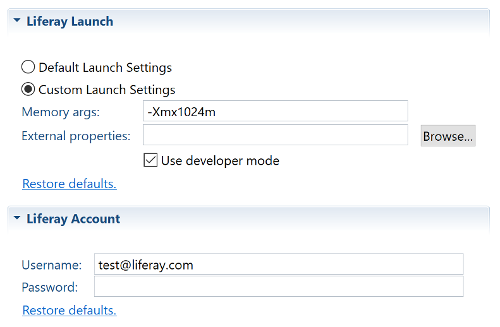 Figure 1: The Use developer mode option lets you enable Developer Mode for your server in Dev Studio DXP.