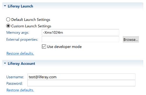 図1:開発者モードを使用オプションを使用すると、Dev Studio DXPでサーバーの開発者モードを有効にできます。