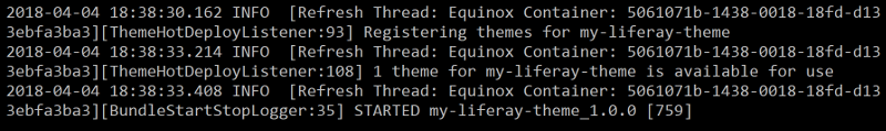 Figure 2: Your servers log notifies you when the themes bundle has started.