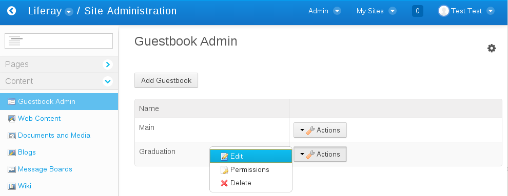 Figure 1: The Guestbook Admin portlet allows administrators to add new guestbooks or to edit existing guestbooks, configure their permissions, or delete them.