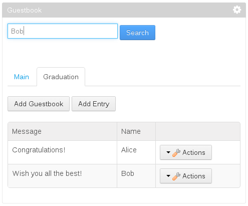 Figure 1: Youll add a search bar to the Guestbook portlet so that users can search for guestbook entries. If a guestbook entrys message or name matches the search query, its displayed in the search results.