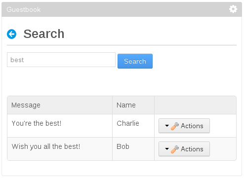 Figure 1: The search results should appear in a Search Container and the Actions button should appear for each entry. The search bar should also be displayed.