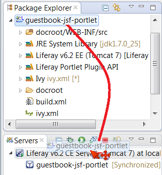 Figure 4: Drag and drop your project onto the Liferay server to deploy it.