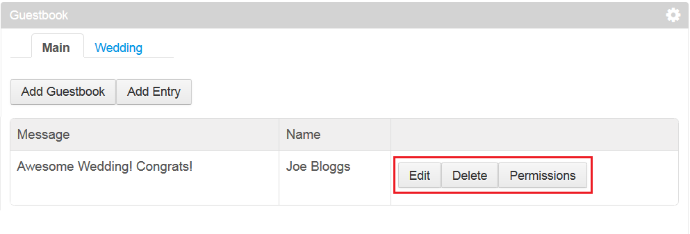 Figure 1: In this learning path, youll add the Edit, Permissions, and Delete buttons for your Entry entities.