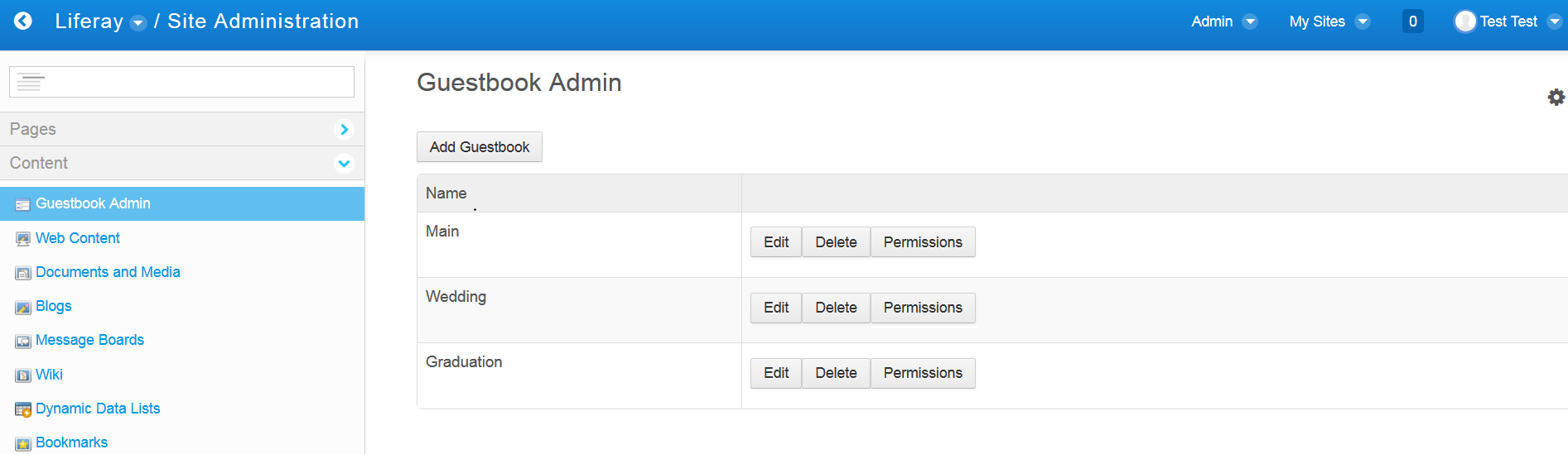 Figure 1: The Guestbook Admins UI will contain buttons to add, edit, delete, and control permissions of guestbook entities.
