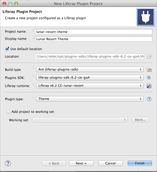 Figure 1: The Project Wizard makes it easy to build a theme.