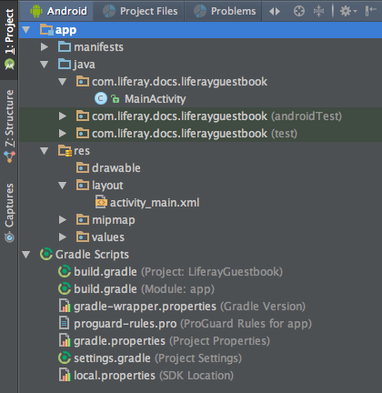 Figure 5: Android Studio shows your projects structure.