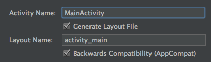Figure 4: In the final screen of Android Studios Create New Project wizard, accept the default values for the activity and layout name.