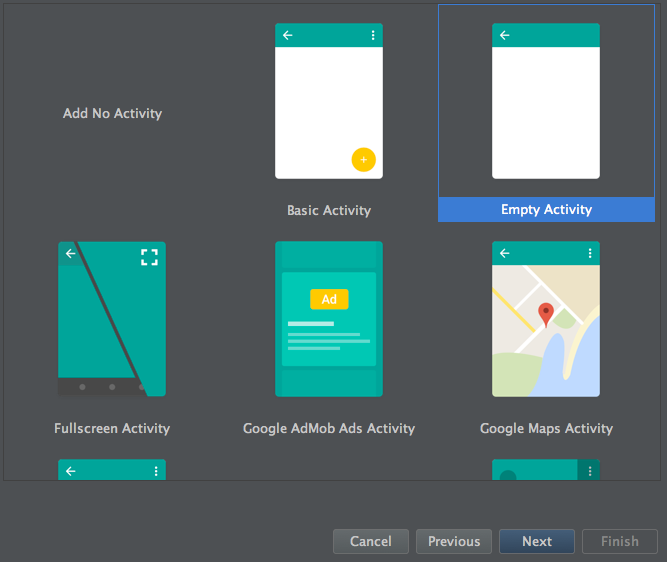 Figure 3: The third screen of Android Studios Create New Project wizard lets you specify an activity for your app.