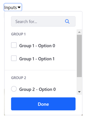 Figure 3: Inputs can be included in dropdown menus.