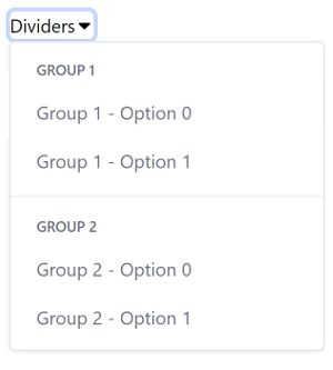 Figure 2: You can organize dropdown menu items into groups.