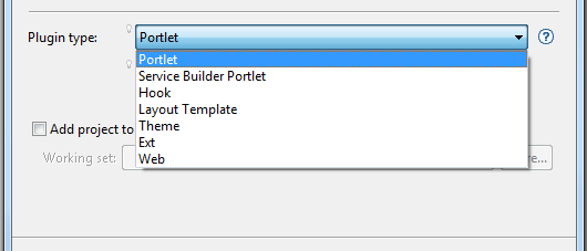 Figure 4: The Plugin Type selector lets you specify the type of plugin project to create.