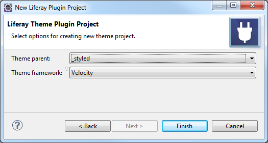 Figure 8: When creating a theme, step two of the New Project Wizard lets you select the themes parent and framework.