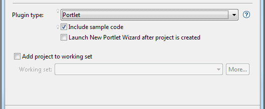 Figure 5: When Portlet is selected from the selector, options for including sample code and launching a New Portlet Wizard appear.
