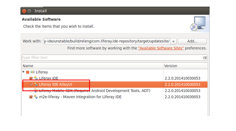 Figure 1: The Liferay IDE AlloyUI option is actually a sub-option listed within the Liferay IDE option.