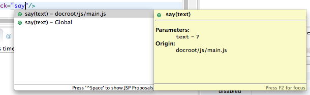 Figure 4: JavaScript code assist features give easy access to your functions.