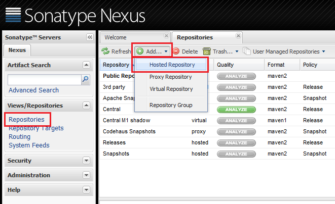 Figure 2.20: Adding a repository to hold your Liferay artifacts is easy with Nexus OSS.