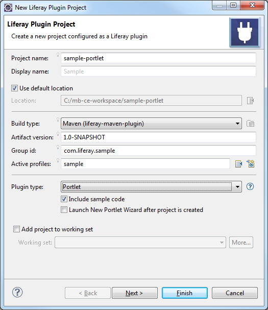 Figure 1: You can build a Liferay Plugin Project using Maven by completing the setup wizard.