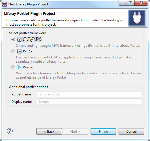 Figure 4: Select a portlet framework to use for your new portlet.
