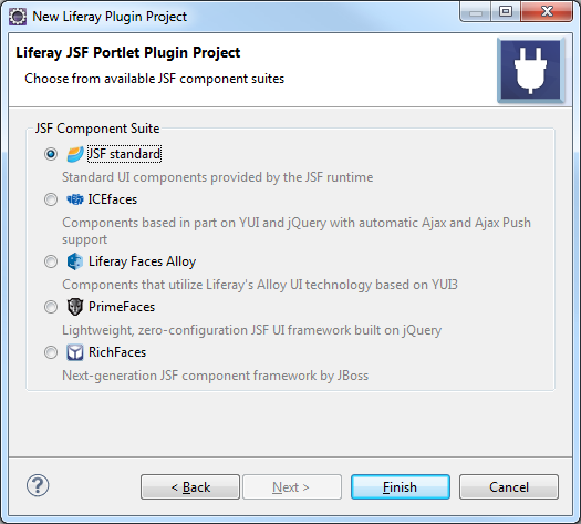 Figure 5: If youre using JSF as your portlet framework, then you need to select the JSF component suite to use.
