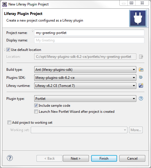 Figure 1: Creating portlet projects with Liferay IDE is easy.