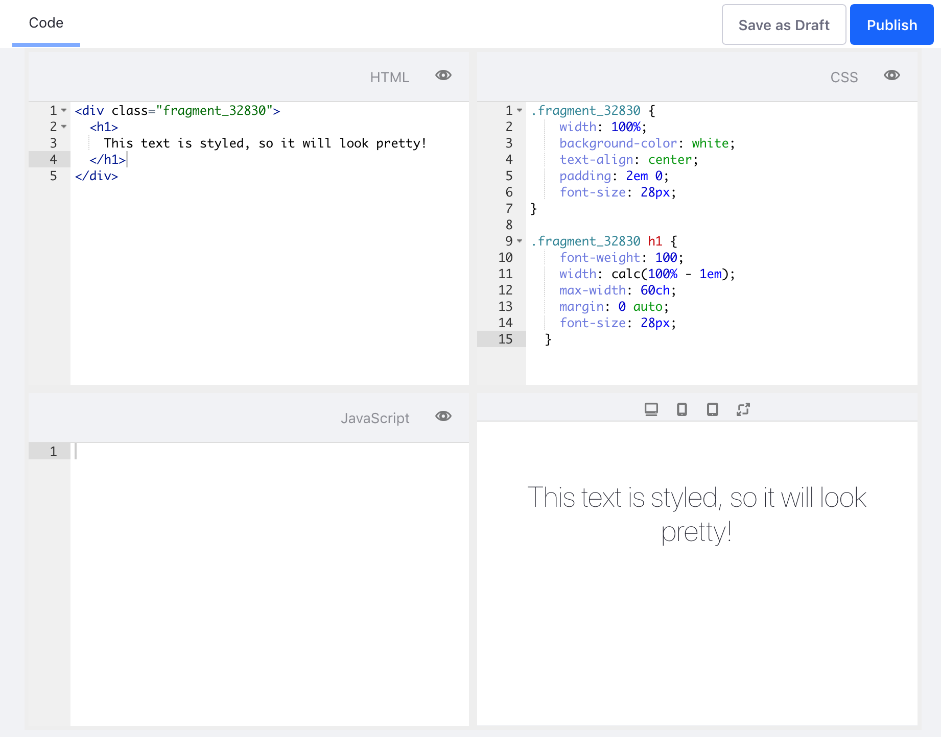 Figure 1: The Fragment editor with HTML and CSS code and a live preview.