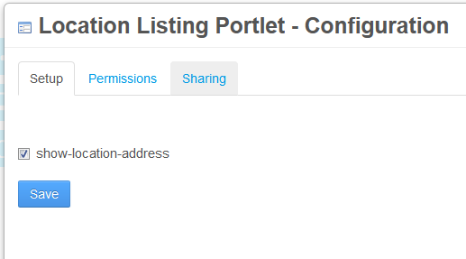 Figure 1: Portlet preferences, such as this portlets checkbox for showing location addresses, let you customize your portlet in many different ways.