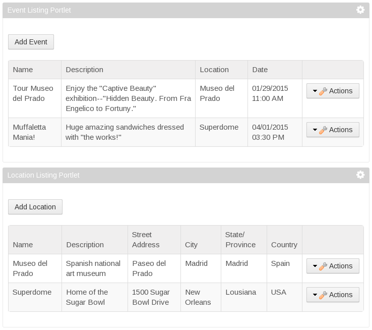 Figure 1: The Event Listing and Location Listing portlets let you add and modify social events and locations. The portlets rely on the event and location entities and the service infrastructure that Liferay Service Builder builds around them.