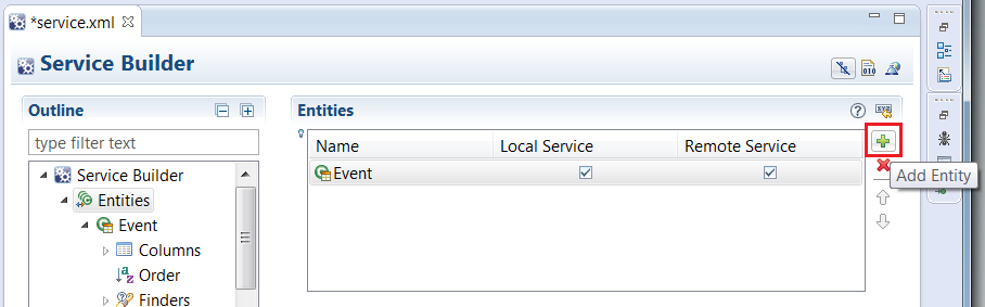 Figure 2: Adding service entities is easy with Liferay IDEs Overview mode of your service.xml file.
