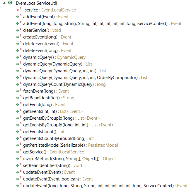 Figure 1: The EventListingPortlet class can access these methods of EventLocalServiceUtil, many of which are CRUD operations.