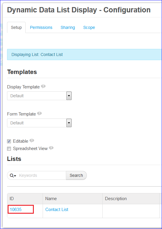 Figure 3: On adding or configuring lists in Liferays the Dynamic Data List app, each lists ID is displayed. You can specify this ID as the value for the DDL record set ID in querying the list from the Skinny web service.